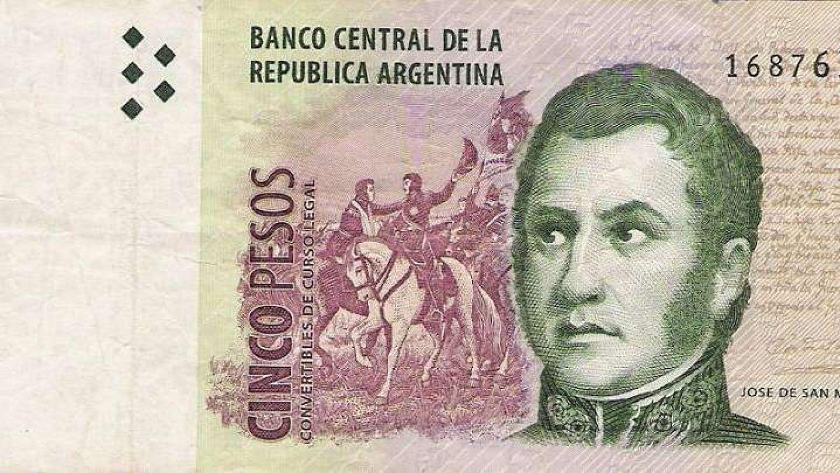 Sacan de circulación al billete de 5 pesos